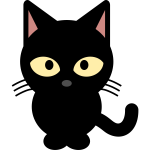 Vector clip art of black cartoon kitten
