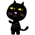 Black cat and Moon vector clip art
