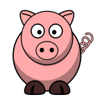 Vector drawing of cartoon pig with twisted tail