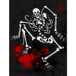 Scary bloody human skeleton vector image