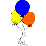 Blue orange and yellow balloons