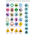 Marine map badges vector image
