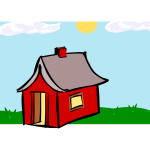 Vector drawing of red booth home