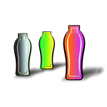 Vector illustration of three different colored drink containers