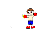 Cartoon boxer man vector drawing