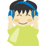 Boy with headphones vector clip art