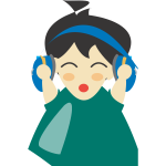 Boy with headphone vector clip art