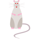 Vector graphics of red-eyed cartoon rat