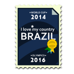 Brazil Olympics and World Cup postal stamp vector image