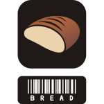 Vector drawing of two piece sticker for bread with barcode