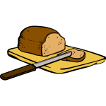 Bread with knife on cutting board