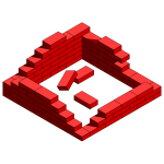 Destroyed brick wall vector graphics