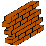 Red brick wall with bricks sticking out vector clip art