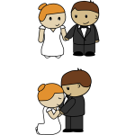Vector illustration of two scenes of cartoon bride and groom