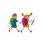 Girl and boy walking to school vector illustration