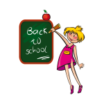 Girl writing on a blackboard vector illustration