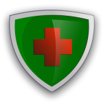 Shield with red cross vector