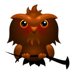 Big headed brown owl vector clip art