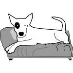 Vector graphics of bullterrier on the bed