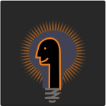 Graphics of humanoid head in front of a glowing lightbulb
