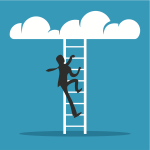 businessman climbing to clouds vector