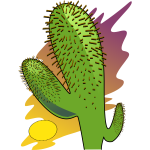 Vector clip art of cartoon cactus in the sun heat
