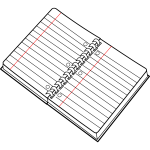 Vector image of open spiral notebook line art
