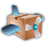 Vector image of carton box propeller plane