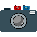 three digital cameras icon vector graphics