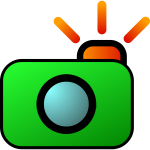Colorful camera and photos icon vector illustration