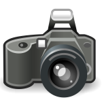 Photo camera with flash grayscale vector image
