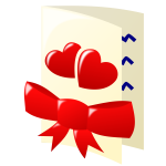 Color clip art of two hearts and a bow Valentines card
