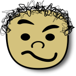 Vector image of curly hair kid with doubtful smile avatar