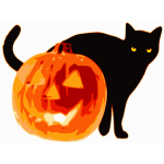 Vector clip art of black cat and pumpkin