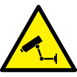Video surveillance hazard warning sign vector image