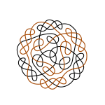 Graphics of black and orange flower shaped Celtic knot