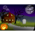 Vector image of dark Halloween haunted house