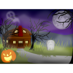 Halloween haunted house vector drawing