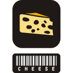 Vector clip art of two piece sticker for cheese with barcode