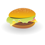 Cheeseburger with sauce vector drawing
