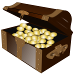 Open cartoon treasure chest