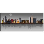Chicago sky line cartoon vector illustration