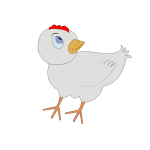 Vector illustration of confused grey chick