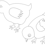 Chickens coloring art