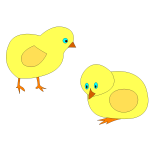 Vector image of two yellow chicks roaming around