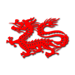 Vector drawing of red Chinese dragon imprint