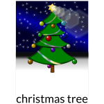 Christmas tree with light effects vector drawing