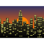 Vector drawing of cityscape under a sunset sky