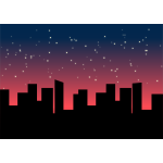 Vector image of city scape with stars