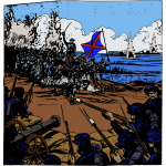 Vector graphics of civil war big battle scene